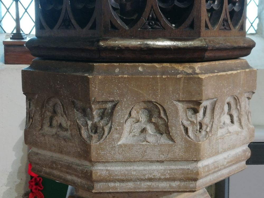 Carving around font